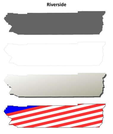 Riverside County, California blank outline map set