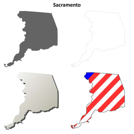 coastline: Sacramento County, California blank outline map set