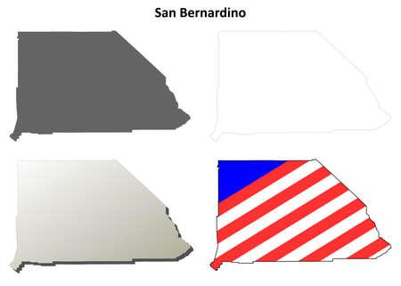 bernardino: San Bernardino County, California blank outline map set