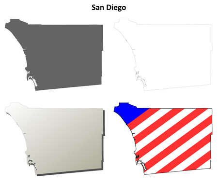 san diego: San Diego County, California blank outline map set