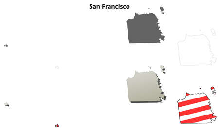 san francisco: San Francisco City and County, California blank outline map set