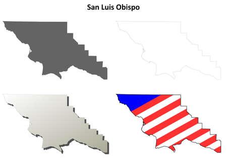 luis: San Luis Obispo County, California blank outline map set