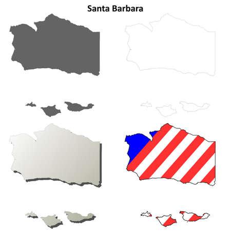 barbara: Santa Barbara County, California blank outline map set