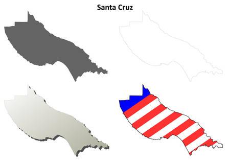Santa Cruz County California Blank Outline Map Set Royalty Free - Blank empty map of us