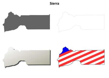 sierra: Sierra County, California blank outline map set