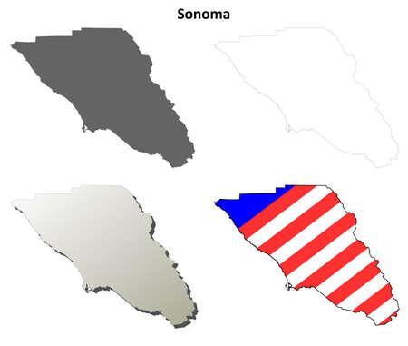 california coast: Sonoma County, California blank outline map set