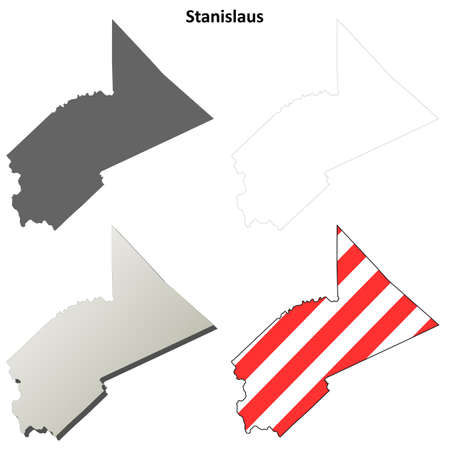 county: Stanislaus County, California blank outline map set Illustration