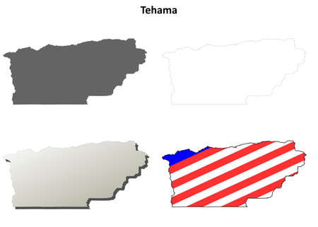 county: Tehama County, California blank outline map set