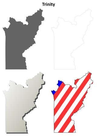 ca: Trinity County, California blank outline map set