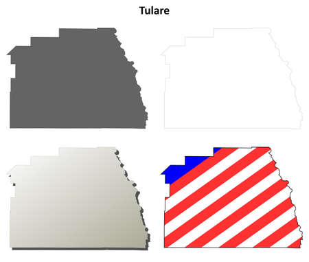 ca: Tulare County, California blank outline map set
