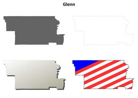 glenn: Glenn County, California blank outline map set