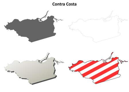 contra: Contra Costa County, California blank outline map set