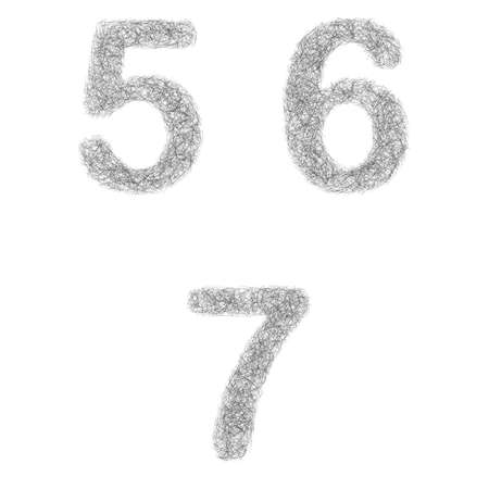 furry: Furry sketch font design set - numbers 5, 6, 7