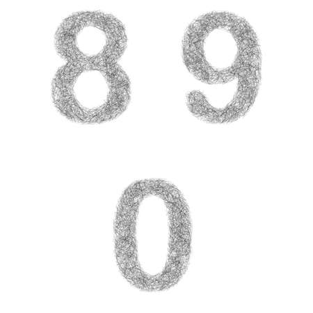 0 9: Furry sketch font design set - numbers 8, 9, 0 Illustration
