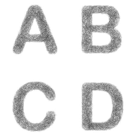 furry: Furry sketch font design set - letters A, B, C, D