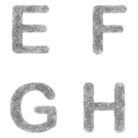 furry: Furry sketch font design set - letters E, F, G, H