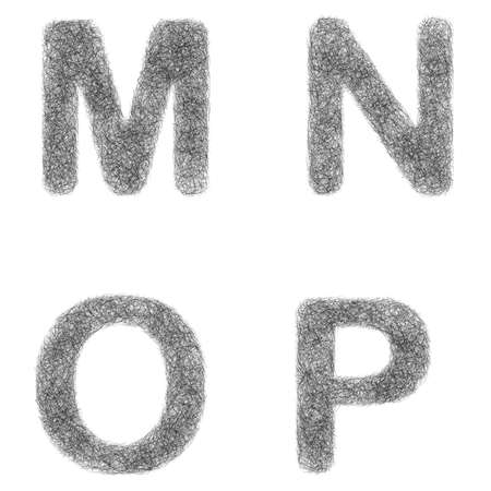 furry: Furry sketch font design set - letters M, N, O, P
