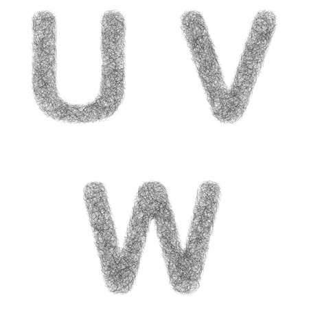 furry: Furry sketch font design set - letters U, V, W