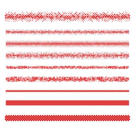 Design-Elemente - rote Pixel Texttrennlinie Set Vektorgrafik