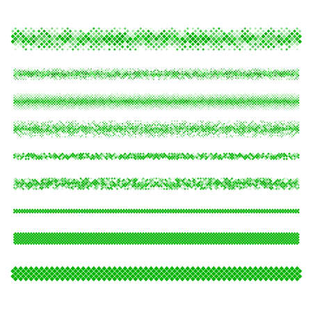 horizontal lines: Design elements - green pixel text divider line set