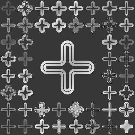 silver: Silver metallic line cross icon design set Illustration