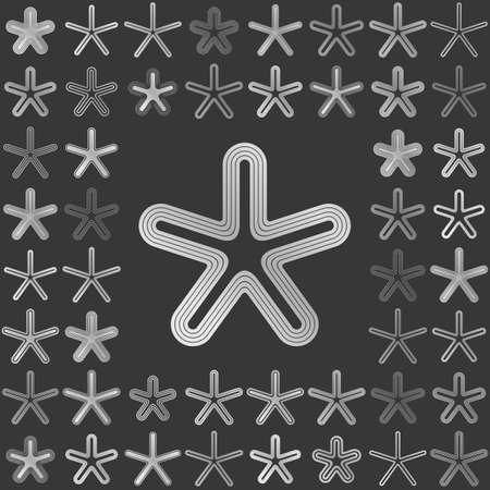 metallic: Silver metallic line star icon design set