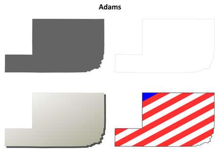 adams: Adams County, Washington blank outline map set