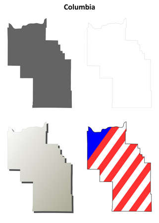 columbia: Columbia County, Washington blank outline map set Illustration