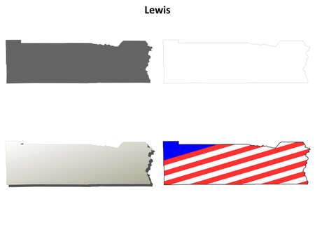 lewis: Lewis County, Washington blank outline map set Illustration