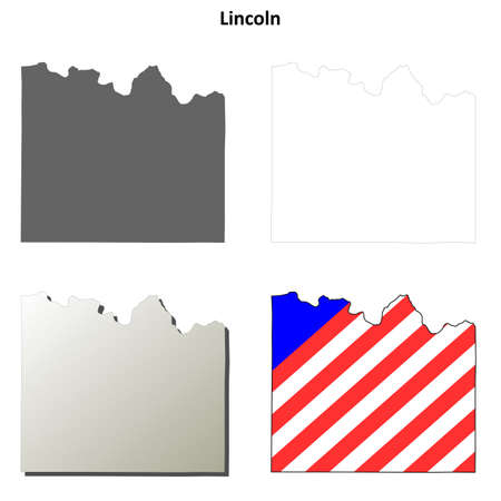 lincoln: Lincoln County, Washington blank outline map set