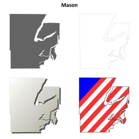 mason: Mason County, Washington blank outline map set Illustration