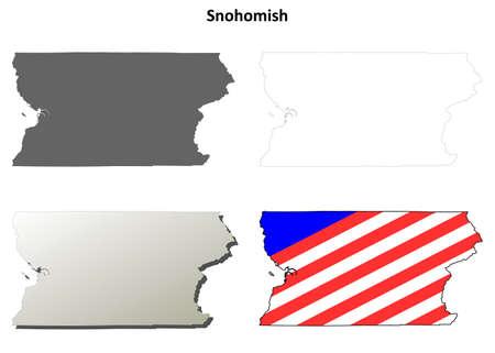 coastlines: Snohomish County, Washington blank outline map set Illustration