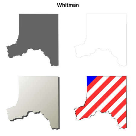 county: Whitman County, Washington blank outline map set