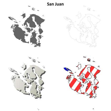 San Juan County, Washington blank outline map set