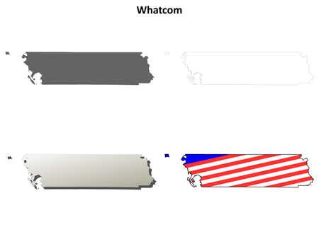 county: Whatcom County, Washington blank outline map set Illustration