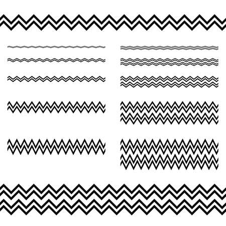 lineas horizontales: Elementos de diseño gráfico - línea en zigzag conjunto de páginas divisor Vectores