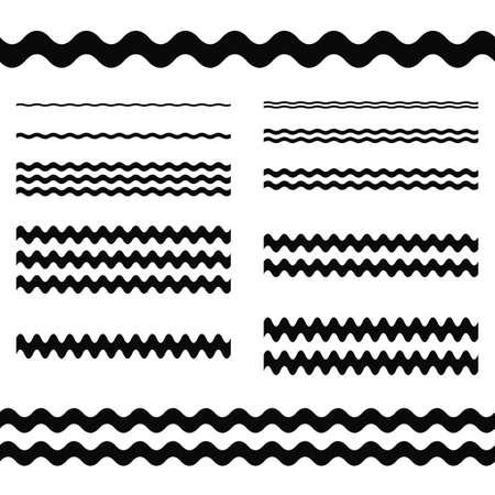 Graphic design elements - wave line page divider set
