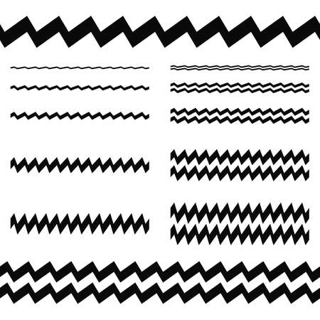asymmetrical: Graphic design elements - asymmetrical zigzag line page divider set