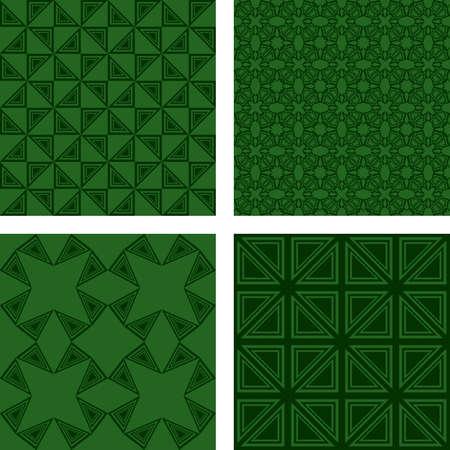 dark green: Dark green seamless triangle pattern background set