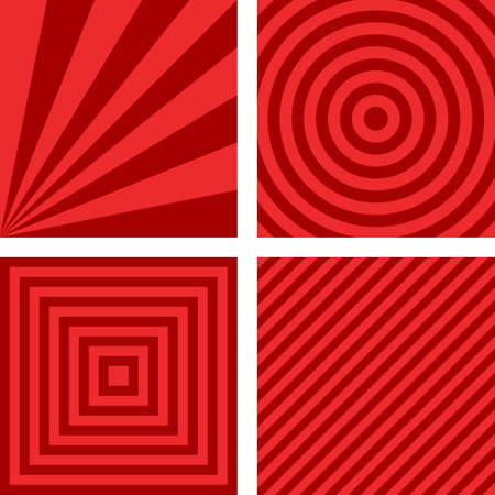 radio beams: Simple abstract red striped pattern background set