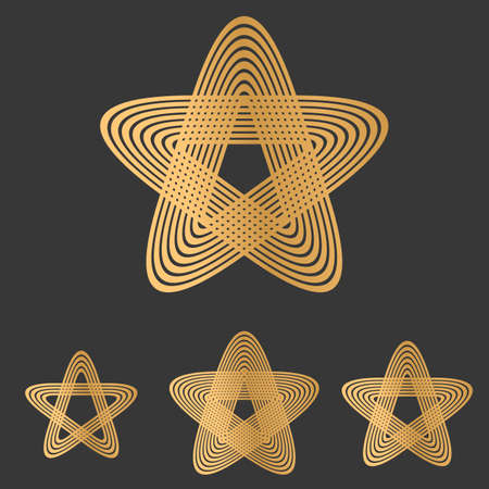 star logo: Bronze line star logo icon design set