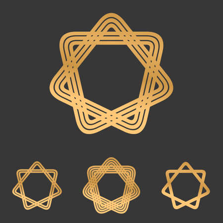 bucle: Bronze line star loop logo design set Vectores