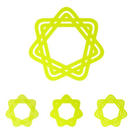 heptagon: Yellow line star ornament logo design set
