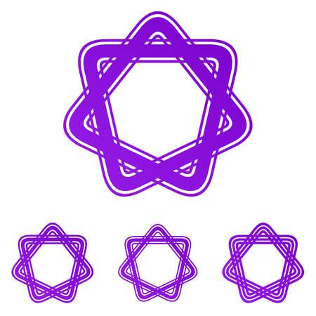 star logo: Purple line star logo icon design set Illustration
