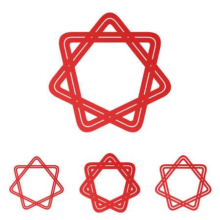 star ornament: Red line loop star ornament logo design set