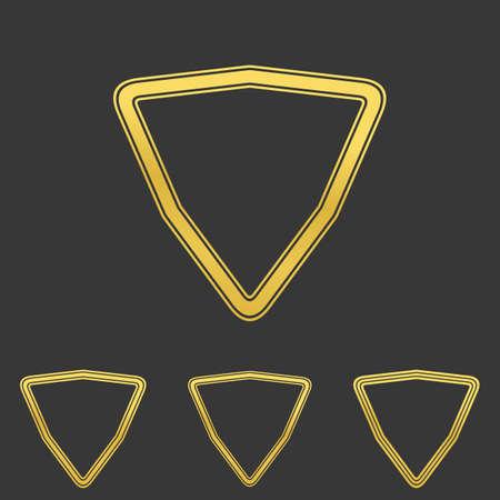 shield logo: Golden line triangle shield logo design set Illustration