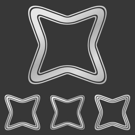 square logo: Silver line curved square logo design set