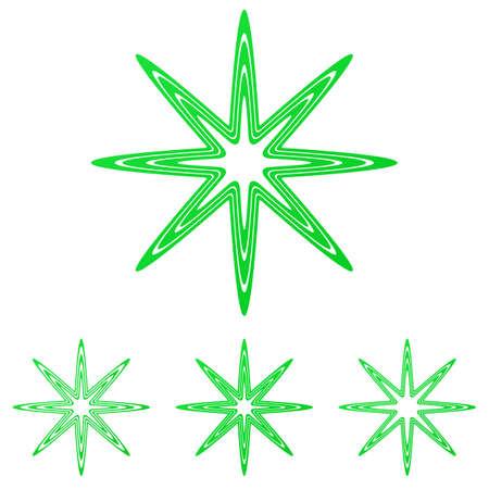 star logo: Green thin line star logo design set Illustration