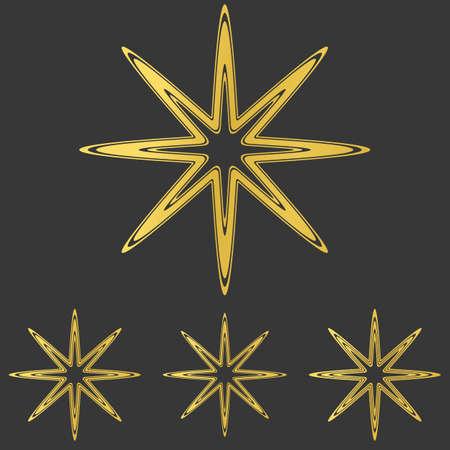 star logo: Golden thin line star logo design set Illustration