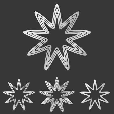 defensive: Silver line star logo icon design set